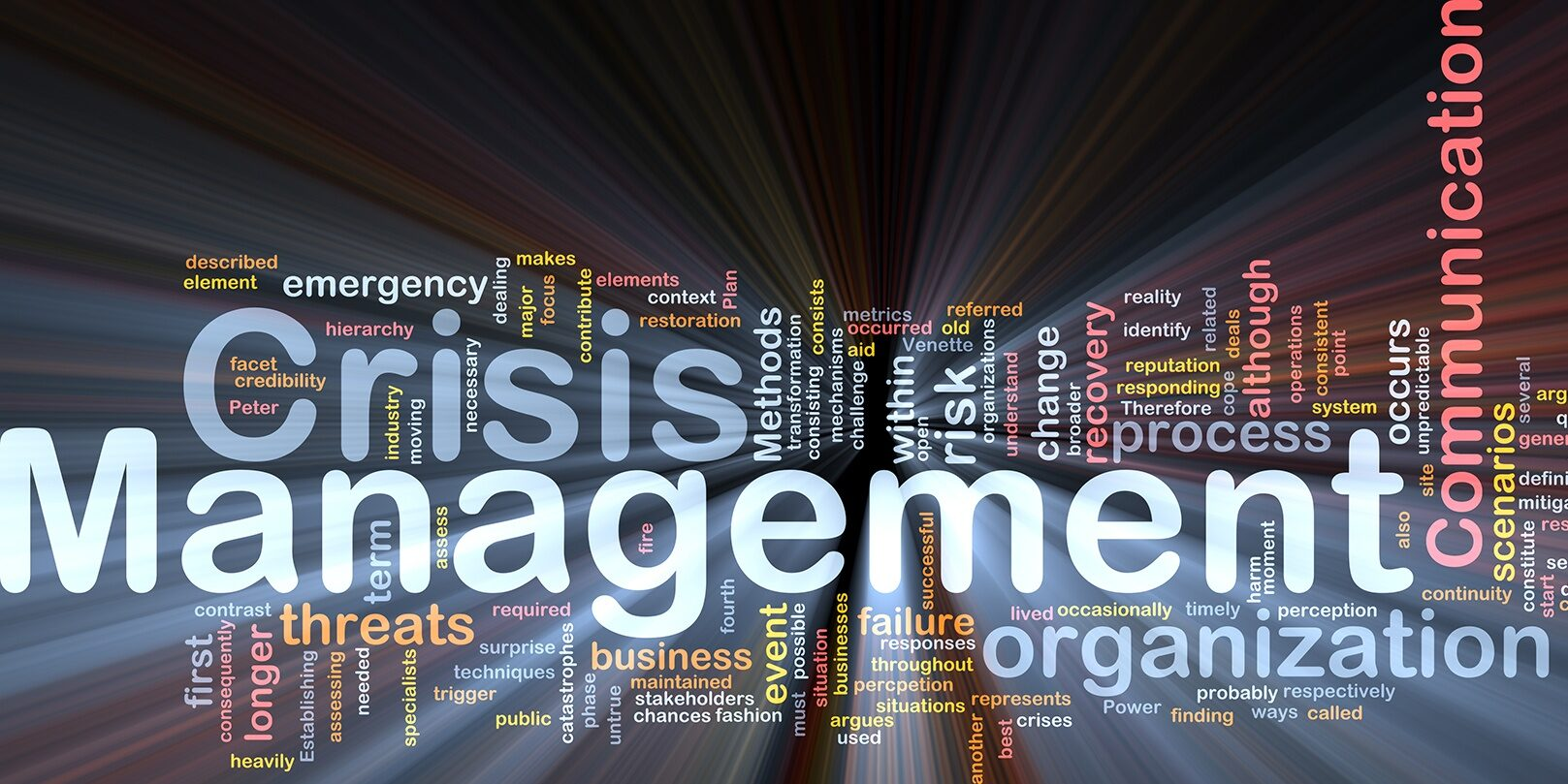 Crisis management is bone background concept glowing