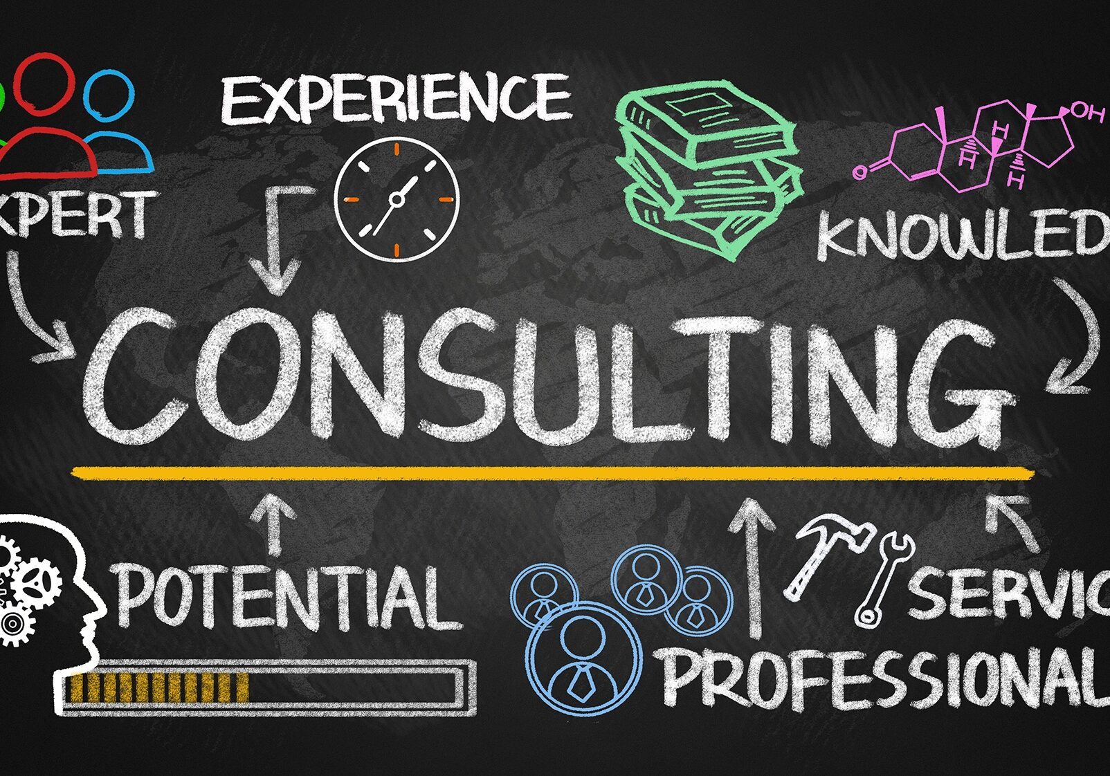 consulting chart with business elements on blackboard